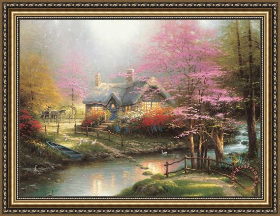 Thomas Kinkade Stepping Stone Cottage Framed Print