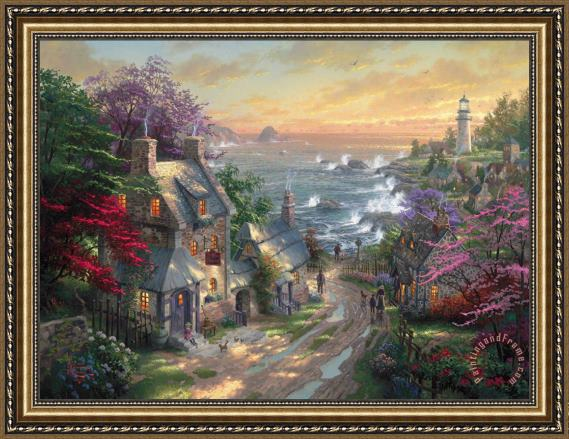 Thomas Kinkade The Village Lighthouse Framed Print
