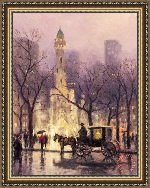 Thomas Kinkade The Watertower, Chicago Framed Print