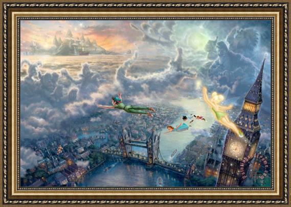 Thomas Kinkade Tinker Bell And Peter Pan Fly to Neverland Framed Print
