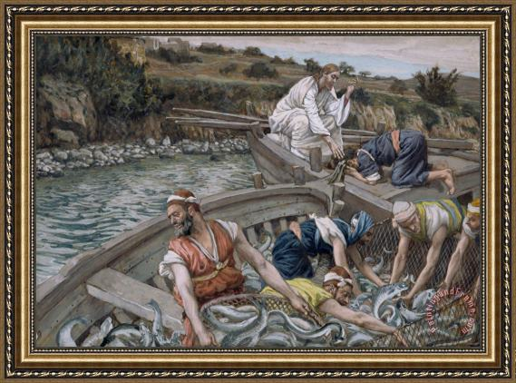 Tissot The First Miraculous Draught of Fish Framed Print