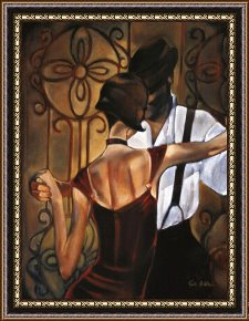 Tango Framed Paintings - Evening-tango by Trish Biddle