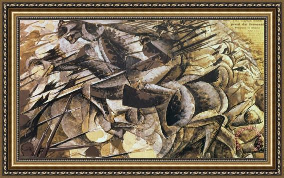 Umberto Boccioni The Charge of the Lancers Framed Print