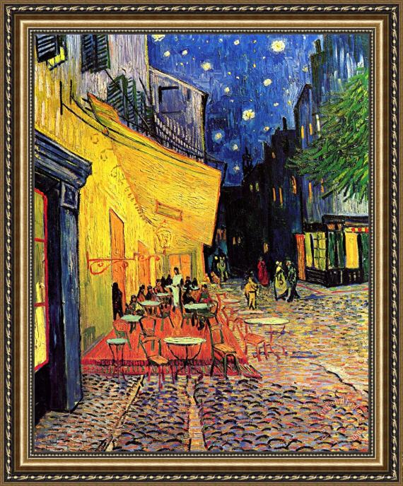 Vincent van Gogh Cafe Terrace Place Du Forum At Night Framed Painting