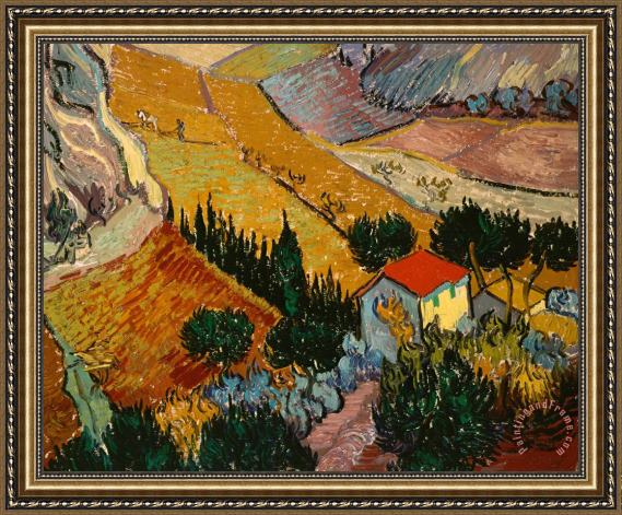 Vincent Van Gogh Landscape with House and Ploughman Framed Print