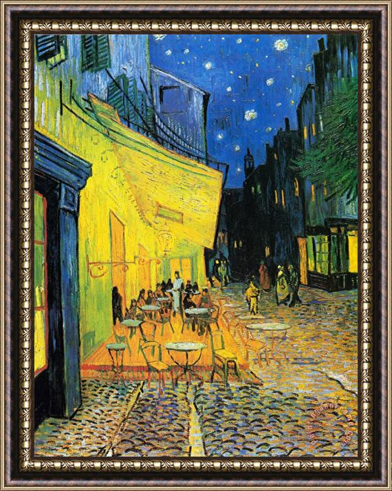 Vincent van Gogh Terrace of The Cafe on The Place Du Forum in Arles in The Evening Framed Print