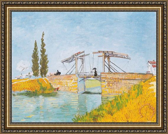 Vincent van Gogh The Bridge of Langlois at Arles with a Lady with Umbrella Framed Print