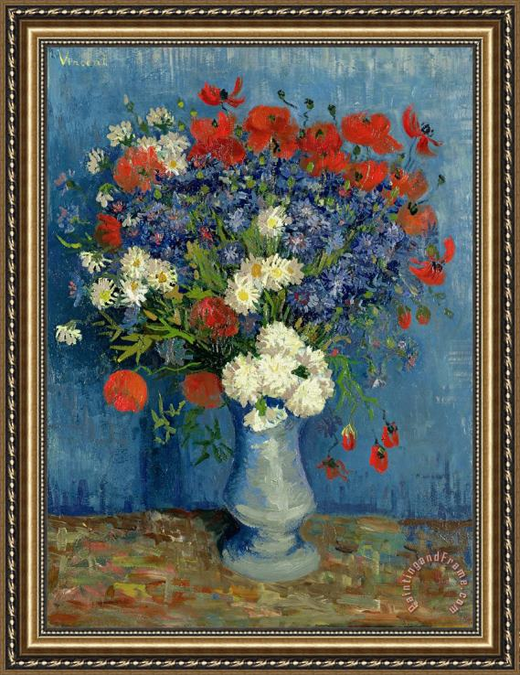 Vincent van Gogh Vase with Cornflowers and Poppies Framed Painting