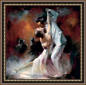 Tango Framed Paintings - Tango Argentino I by willem haenraets