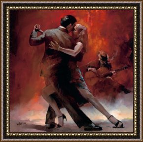 Tango Framed Paintings - Tango Argentino Ii by willem haenraets