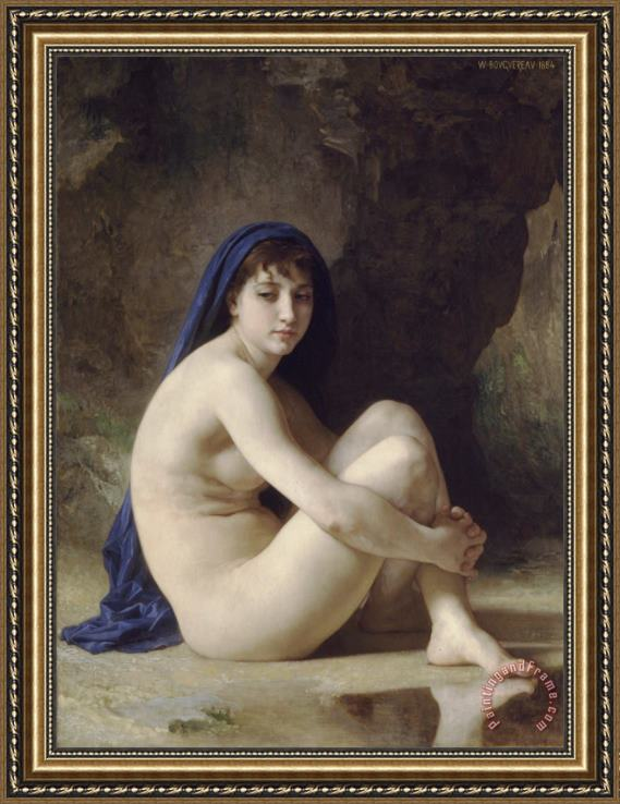 William Adolphe Bouguereau Seated Bather Framed Print