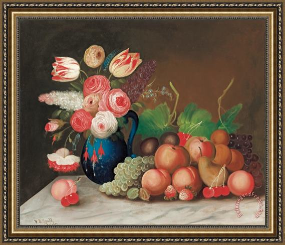 William Buelow Gould Still life with fruit and flowers Framed Print