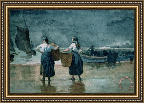 Winslow Homer Fisher Girls by the Sea Framed Print
