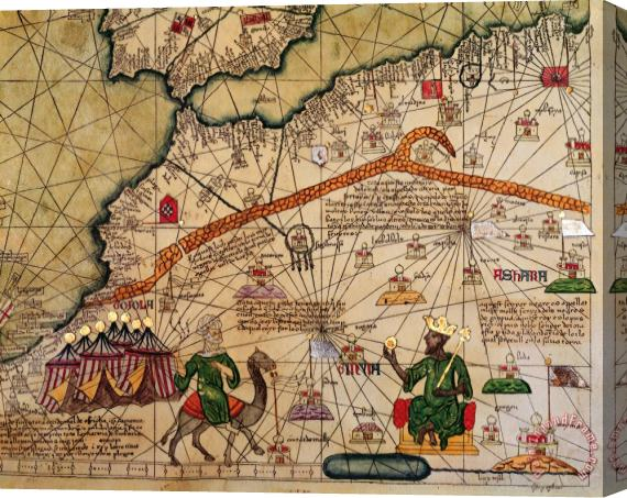 Abraham Cresques Catalan Map of Europe and North Africa Charles V of France in 1381 Stretched Canvas Print / Canvas Art