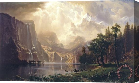 Albert Bierstadt Among The Sierra Nevada Mountains California Stretched Canvas Print / Canvas Art