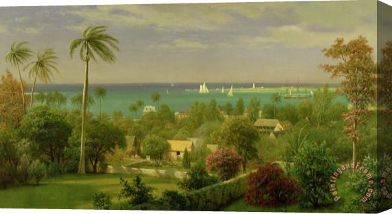 Albert Bierstadt Panoramic View of the Harbour at Nassau in the Bahamas Stretched Canvas Print / Canvas Art