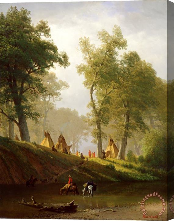 Albert Bierstadt The Wolf River - Kansas Stretched Canvas Print / Canvas Art