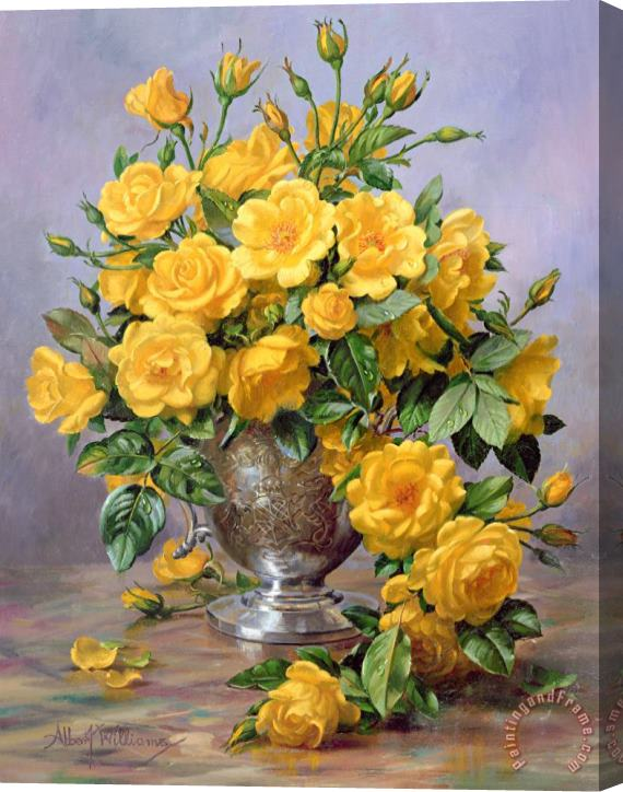Albert Williams Bright Smile - Roses in a Silver Vase Stretched Canvas Print / Canvas Art