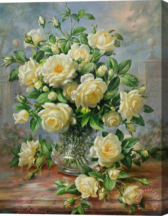 Albert Williams Princess Diana Roses in a Cut Glass Vase Stretched Canvas Print / Canvas Art