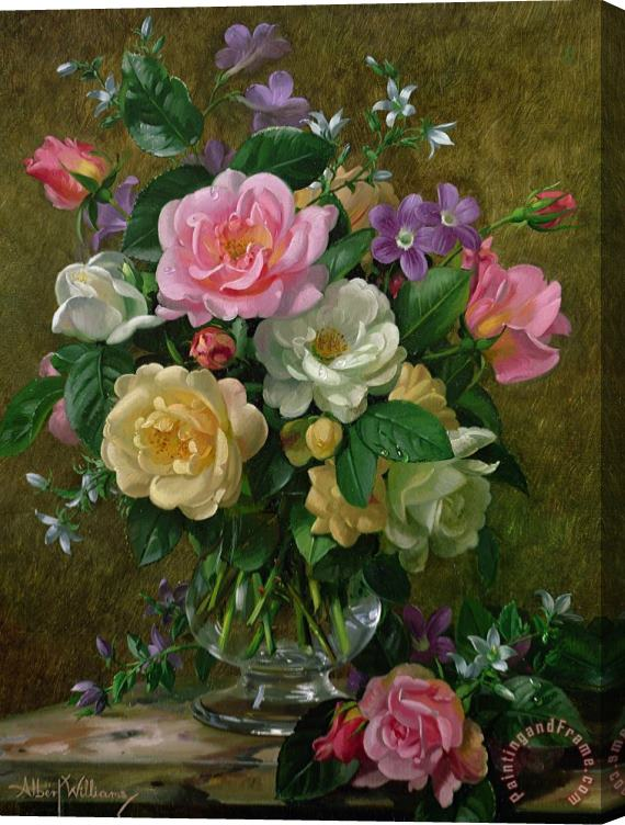 Albert Williams Roses In A Glass Vase Stretched Canvas Print / Canvas Art