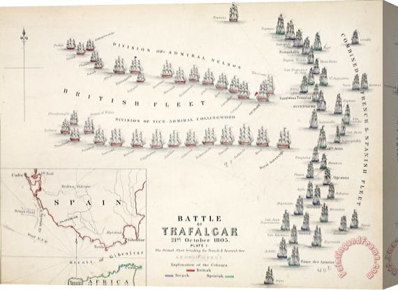 Alexander Keith Johnson Map Of The Battle Of Trafalgar Stretched Canvas Print / Canvas Art