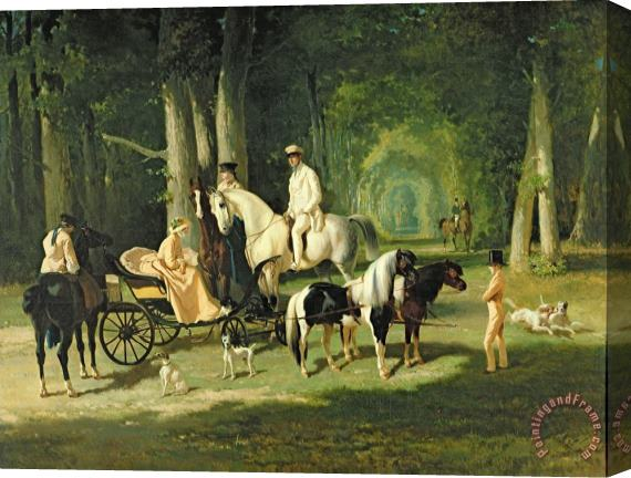 Alfred Dedreux Mr and Mrs A Mosselman and their Two Daughters Stretched Canvas Print / Canvas Art