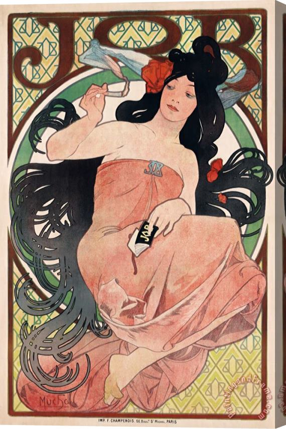 Alphonse Marie Mucha Art Nouveau Poster of Woman Stretched Canvas Print / Canvas Art