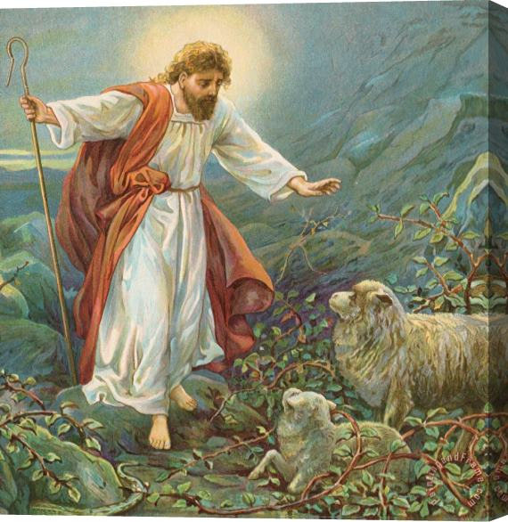 Ambrose Dudley Jesus Christ The Tender Shepherd Stretched Canvas Print / Canvas Art