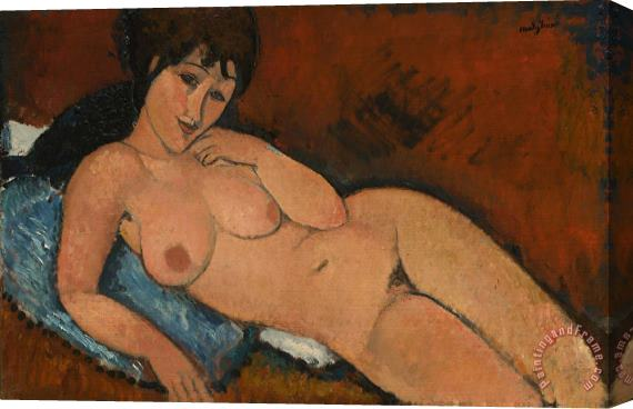 Amedeo Modigliani Nude On A Blue Cushion Stretched Canvas Print / Canvas Art