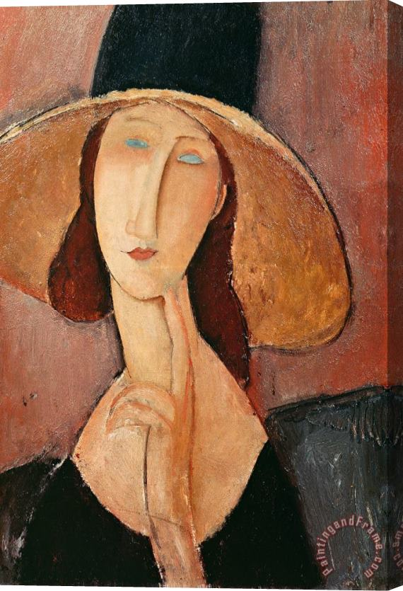 Amedeo Modigliani Portrait of Jeanne Hebuterne in a large hat Stretched Canvas Print / Canvas Art