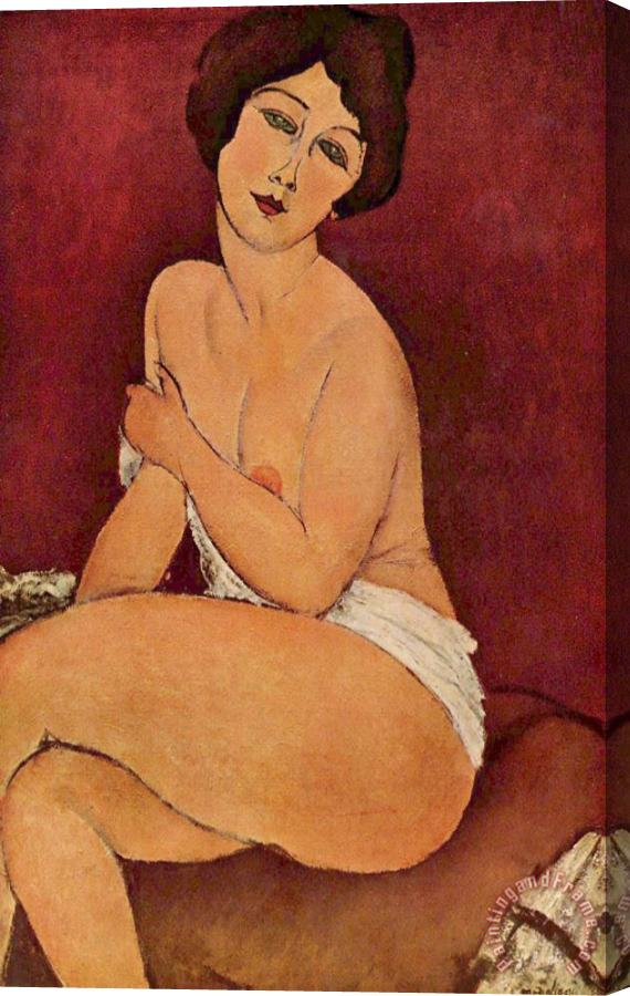 Amedeo Modigliani Seated Female Nude Stretched Canvas Print / Canvas Art