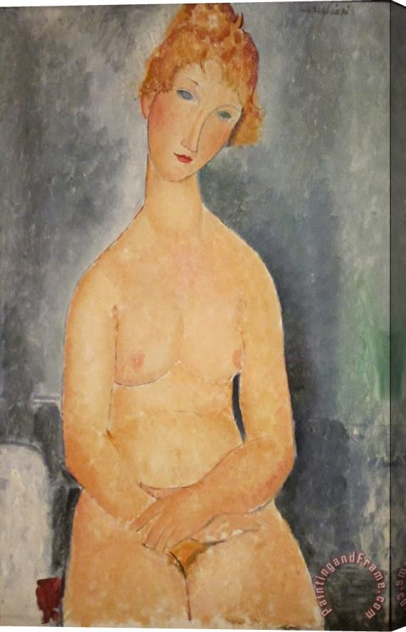 Amedeo Modigliani Seated Nude Woman Painting Stretched Canvas Painting / Canvas Art