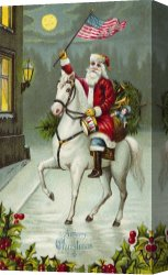 Santa Canvas Prints - A Merry Christmas card of Santa Riding a White Horse by American School
