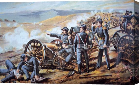 American School Federal field artillery in action during the American Civil War Stretched Canvas Print / Canvas Art