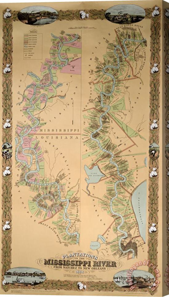 American School Map depicting plantations on the Mississippi River from Natchez to New Orleans Stretched Canvas Print / Canvas Art