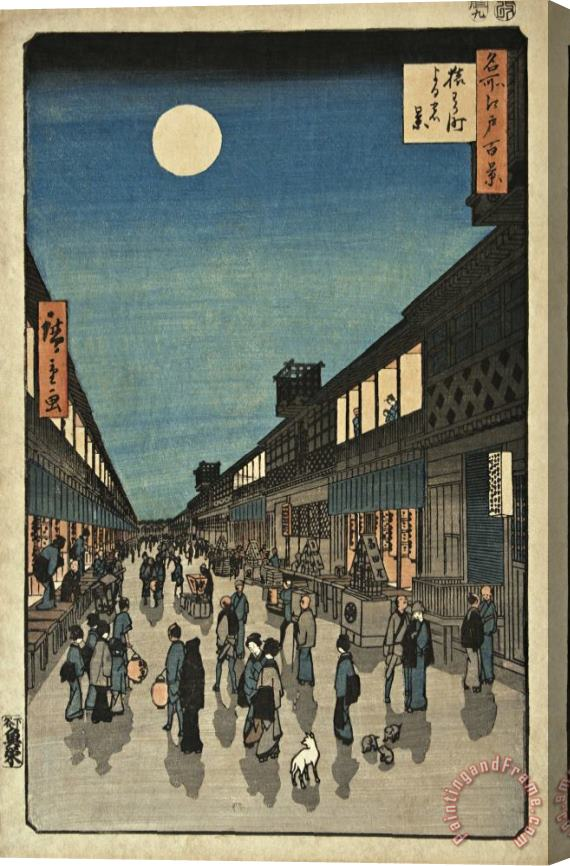 Ando Hiroshige 100 Famous Views of Edo, Night View Saruwaka Street Stretched Canvas Print / Canvas Art