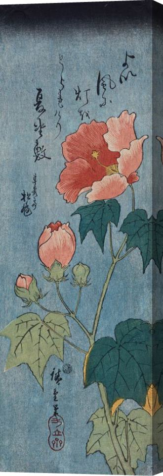 Ando Hiroshige Flowering Poppies Tanzaku Stretched Canvas Painting / Canvas Art