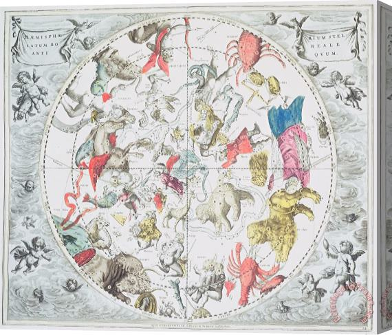 Andreas Cellarius Celestial Planisphere Showing the Signs of the Zodiac Stretched Canvas Print / Canvas Art