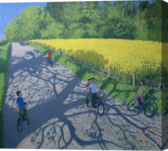 Andrew Macara Cyclists and Yellow Field Stretched Canvas Print / Canvas Art