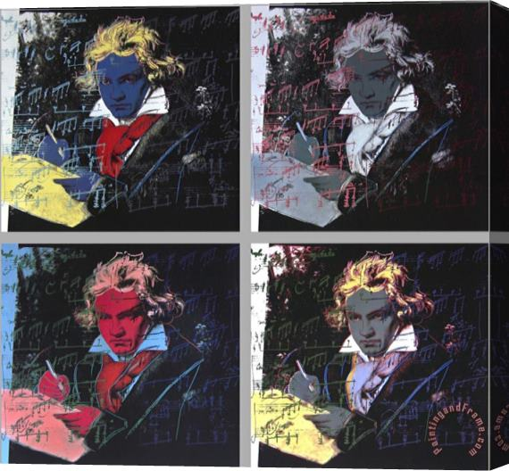 Andy Warhol Beethoven X 4 Stretched Canvas Print / Canvas Art