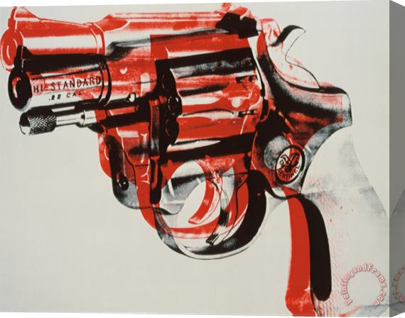 Andy Warhol Gun C 1981 82 Black And Red on White Stretched Canvas Painting / Canvas Art