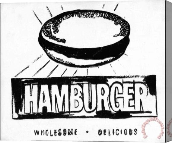Andy Warhol Hamburger W&b Stretched Canvas Painting / Canvas Art