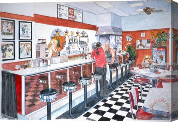 Anthony Butera Interior Soda Fountain Stretched Canvas Print / Canvas Art