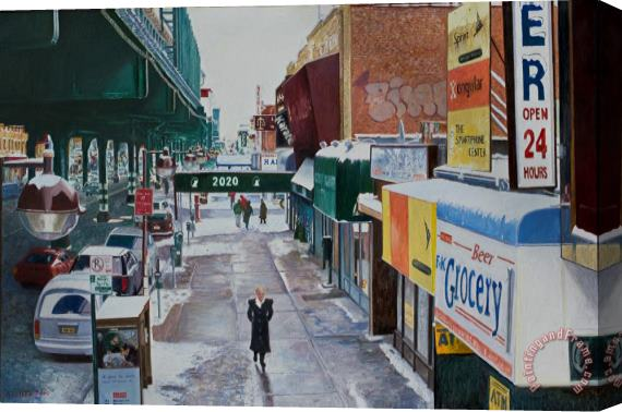Anthony Butera Under The El 86th Street Brooklyn Stretched Canvas Print / Canvas Art