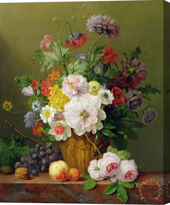 Anthony Obermann Still Life With Flowers And Fruit Stretched Canvas Print / Canvas Art