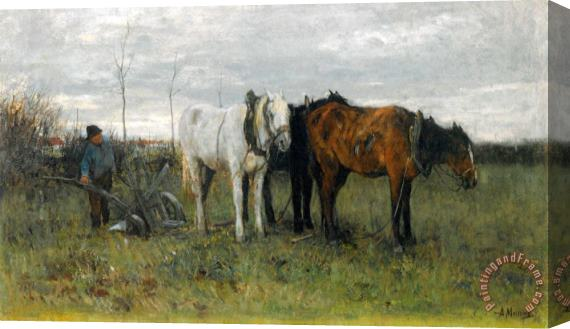 Anton Mauve A Ploughing Farmer Stretched Canvas Print / Canvas Art