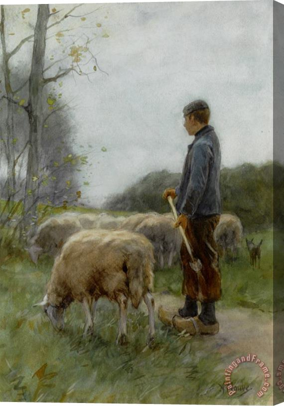 Anton Mauve A Shepherd And His Flock Stretched Canvas Print / Canvas Art