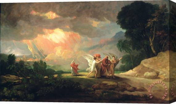 Benjamin West Lot Fleeing from Sodom Stretched Canvas Print / Canvas Art