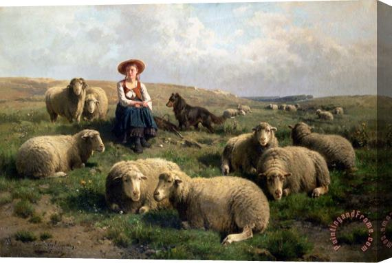C Leemputten and T Gerard Shepherdess with Sheep in a Landscape Stretched Canvas Print / Canvas Art