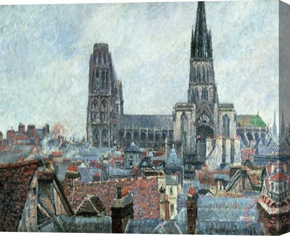 Camille Pissarro Roofs Of Old Rouen Grey Weather Stretched Canvas Print / Canvas Art